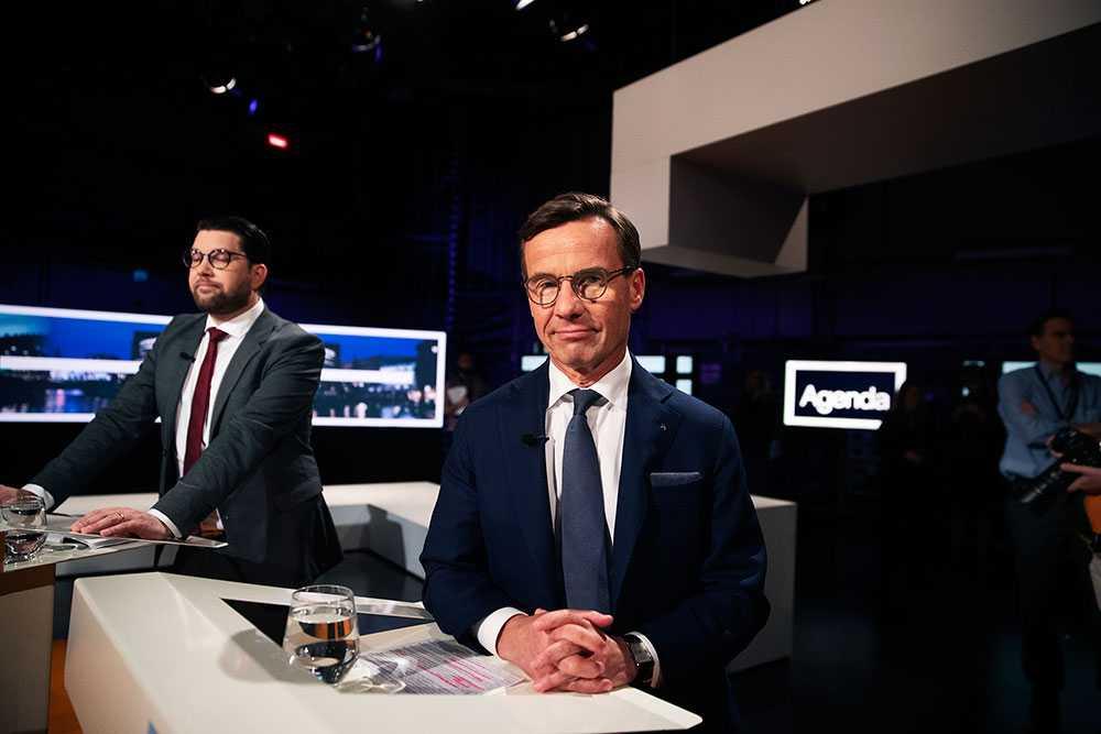 Jimmie Åkesson (SD, Ulf Kristersson (M) i SVT:s partiledardebatt.