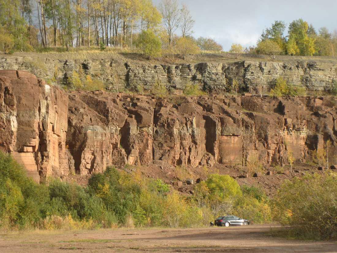 Dammet finns bevarat i kalkstensbrottet på Kinnekulle i Götene.