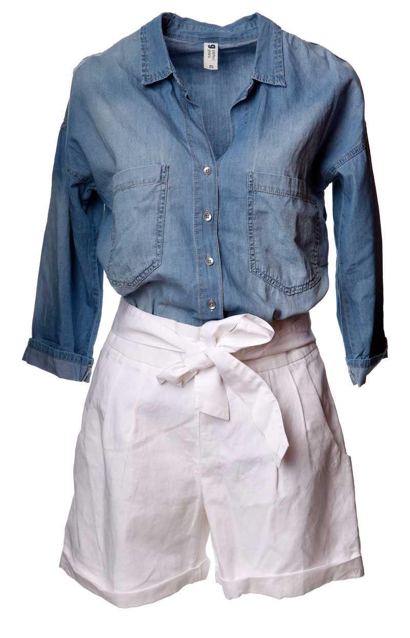 Jeansskjorta, 199 kronor, Gina Tricot. Shorts, 300 kronor, Monki.