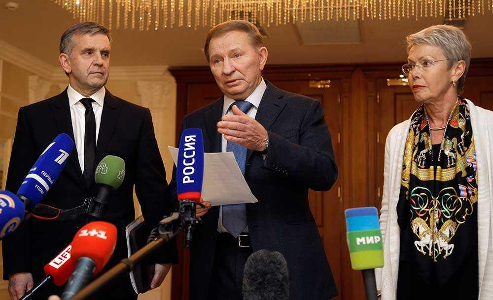 Ryssland, Ukraina och OSSE På mötet deltog också Ryssland Ukraina-ambassadör, Mikhail Zurabov, den tidigare ukrainska presidenten Leonid Kuchma och OSSE-sändebudet Heidi Tagliavini.