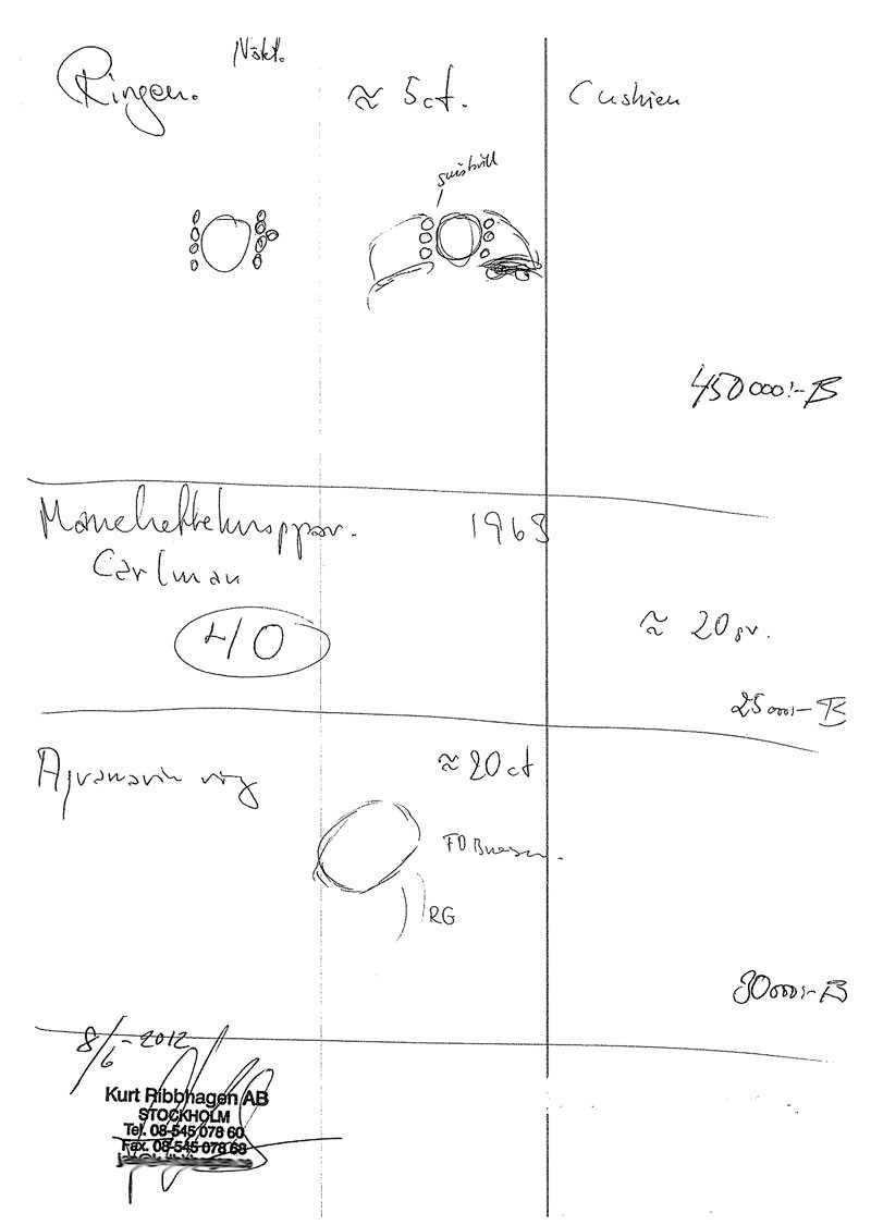 Teckningar över stulna ringar och manchettknappar.