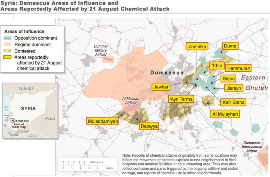 Områden i Damaskus som enligt Vita huset drabbades av kemvapenattacken den 21 augusti.