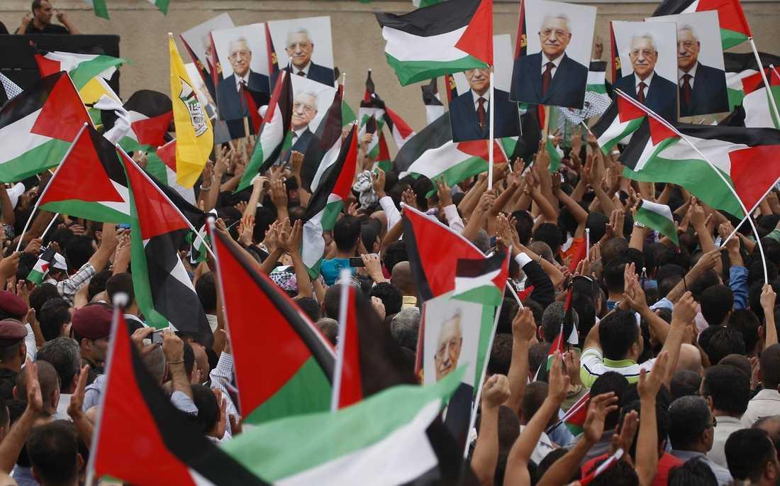 BROMSAR Palestinier firar och håller upp plakat med bilder av president Abbas efter dennes tal i FN där han krävde palestinsk självständighet. Men av fredsförhandlingar är Abbas ointresserad, menar skribenten.
