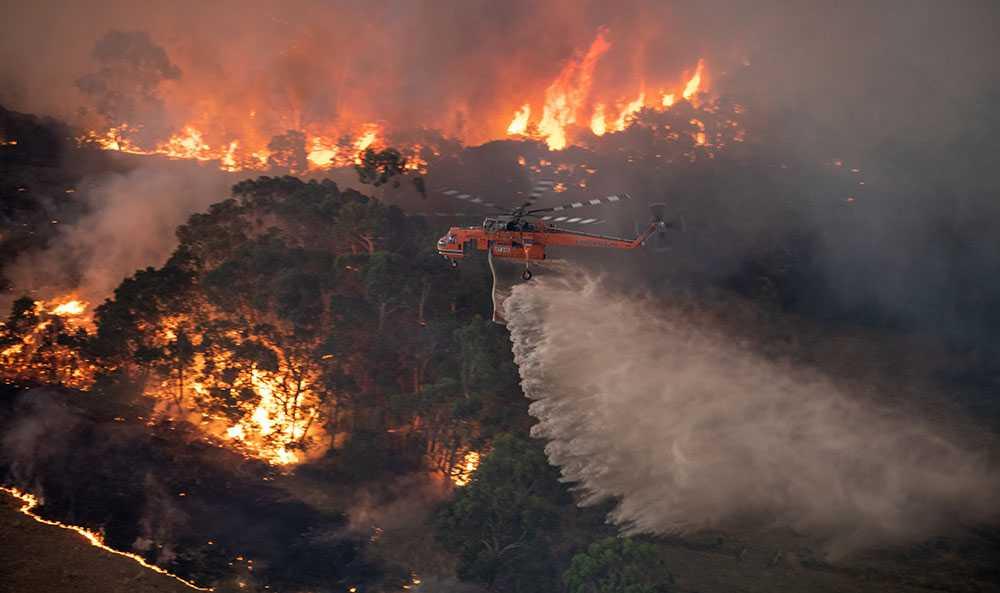 En helikopter vattenbombar bränderna i East Gippsland-området i delstaten Victoria.