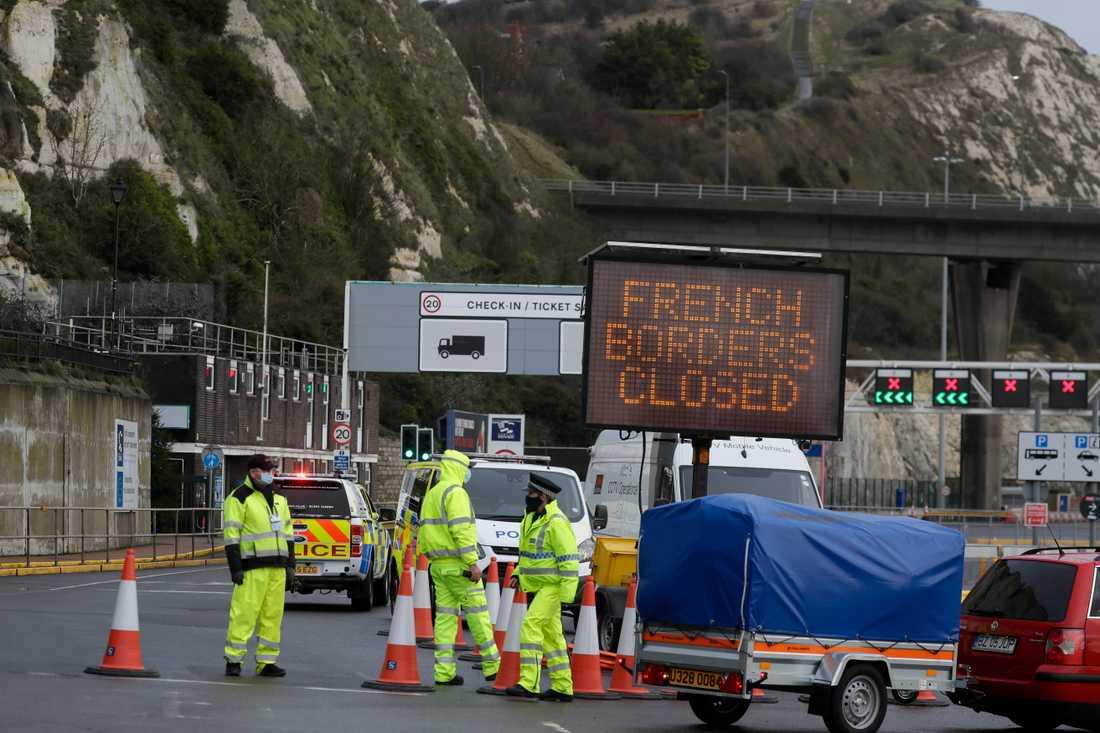 Frankrike stängde gränsen mot Storbritannien före jul på grund av den nya virusmutationen. Här arkivbild från Dover i Storbritannien.