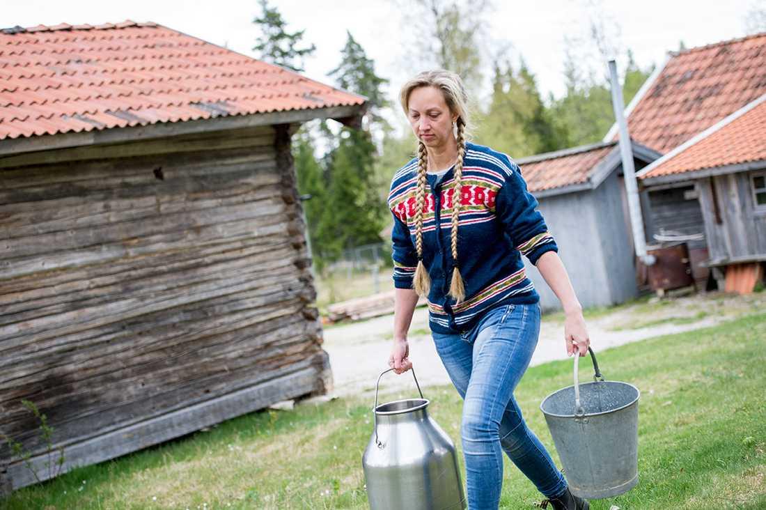 Tin Gumuns driver Karl-Tövåsens fäbod i Rättvik, en av landets sista. Nu är verksamheten hotad då Skatteverket kräver att hon skaffar ett kassaregister vid den strömlösa fäboden.