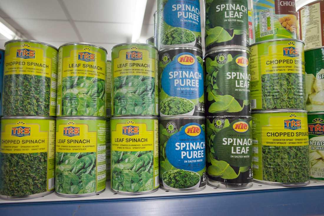 Konserverad spenat – ett bra substitut till färska grönsaker, som är något av det första som spås bli en bristvara vid en avtalslös brexit.