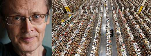 Mikael Nyberg gör ett imponerande grävjobb, skriver Rebecka Kärde. Till höger: På Amazons jättelager larmas chefen om de anställda stannar till (foto AP).