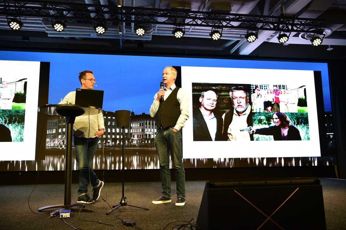 Robert Gustafsson under presskonferensen för nya serien