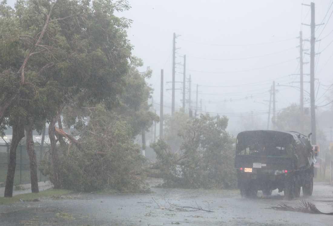Militärer passerad omkullblåsta träd i Fajado, Puerto Rico.