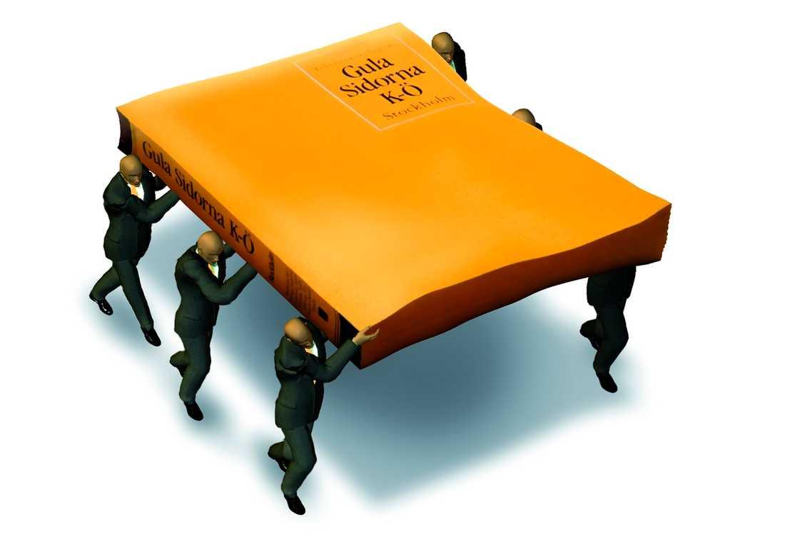 begrava gula sidor? Svenska Naturskyddsföreningen vill spara på skogen genom att vi ska sluta tillverka telefonkataloger. Teckning: Paul Wallander
