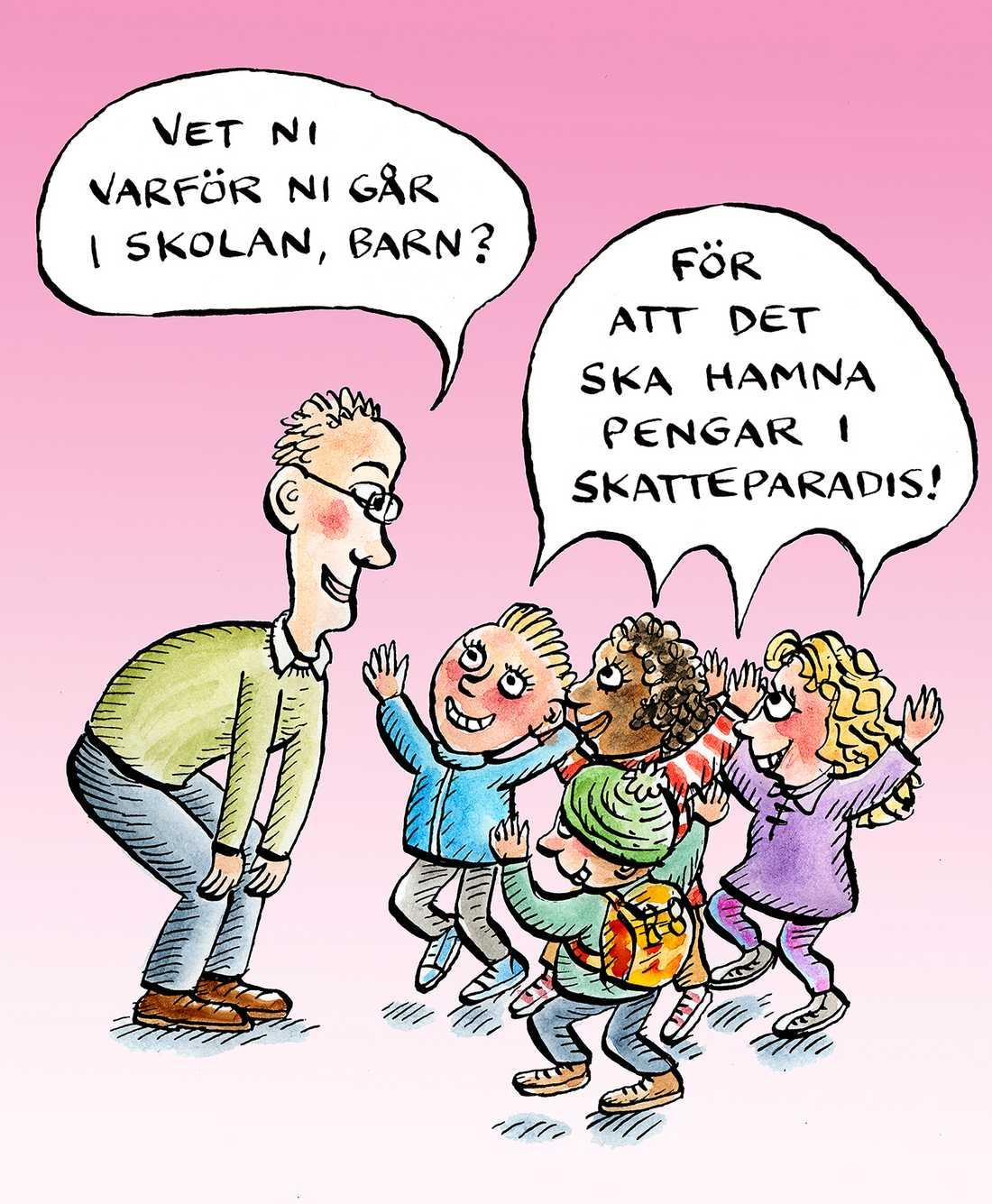 Pengar Svensk skola har stora brister, resultaten faller och skolsegregationen ökar. Ett första steg är då rimligen att stoppa läckaget av pengar ur verksamheten.
