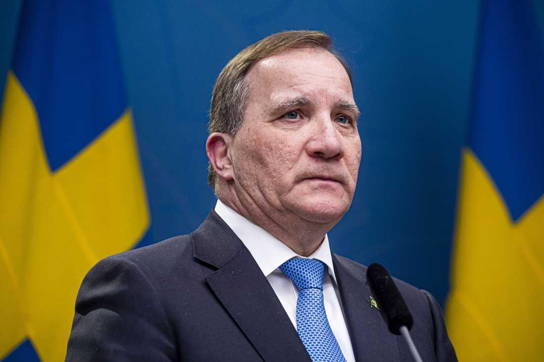 Statsminister Stefan Löfven på en tidigare pressträff.