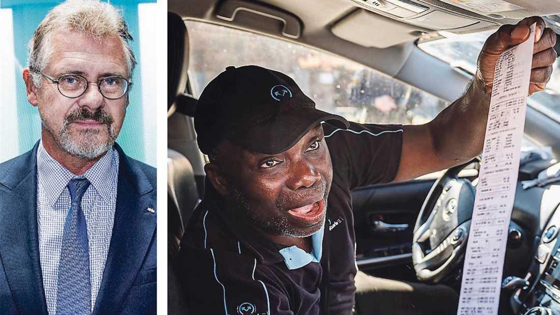 T v ekonomen Klas Eklund, t h taxichauffören John Paul.