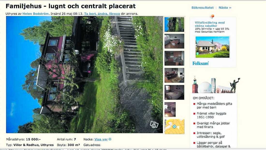 Här är Blocketannonsen om Thomas Bodströms hus.