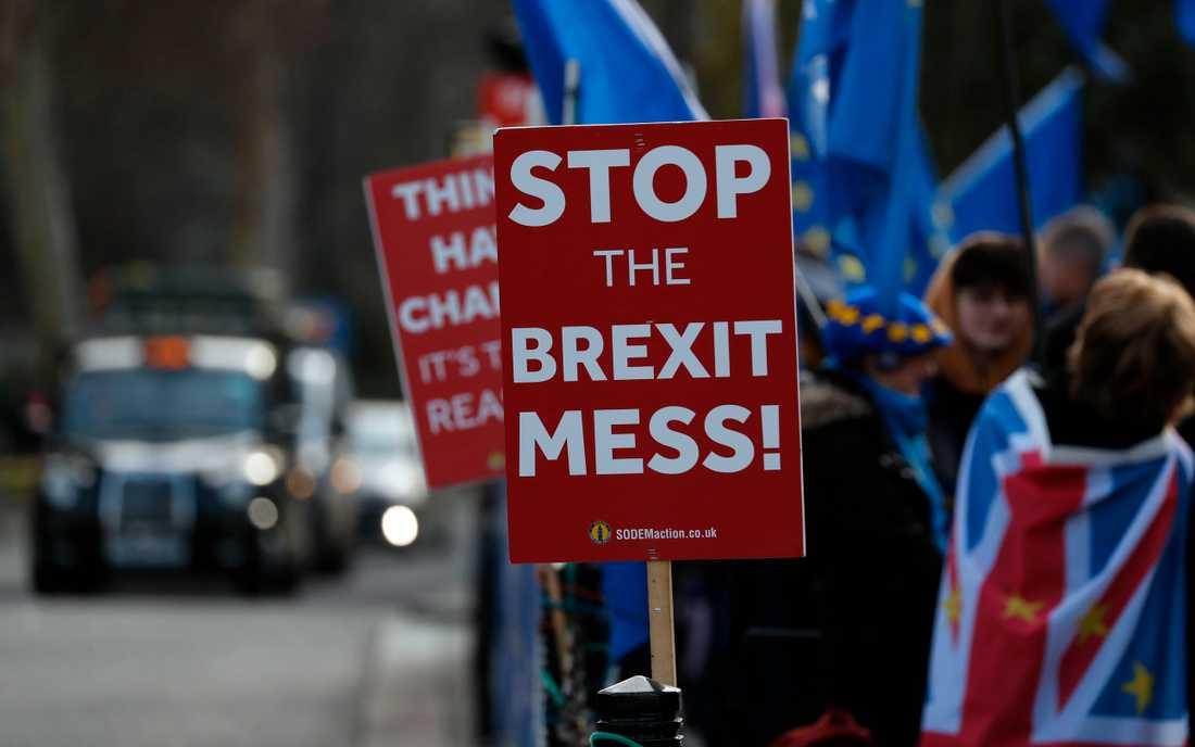 Stoppa brexit-röran, kräver brittiska demonstranter som vill att Storbritannien stannar kvar i EU.