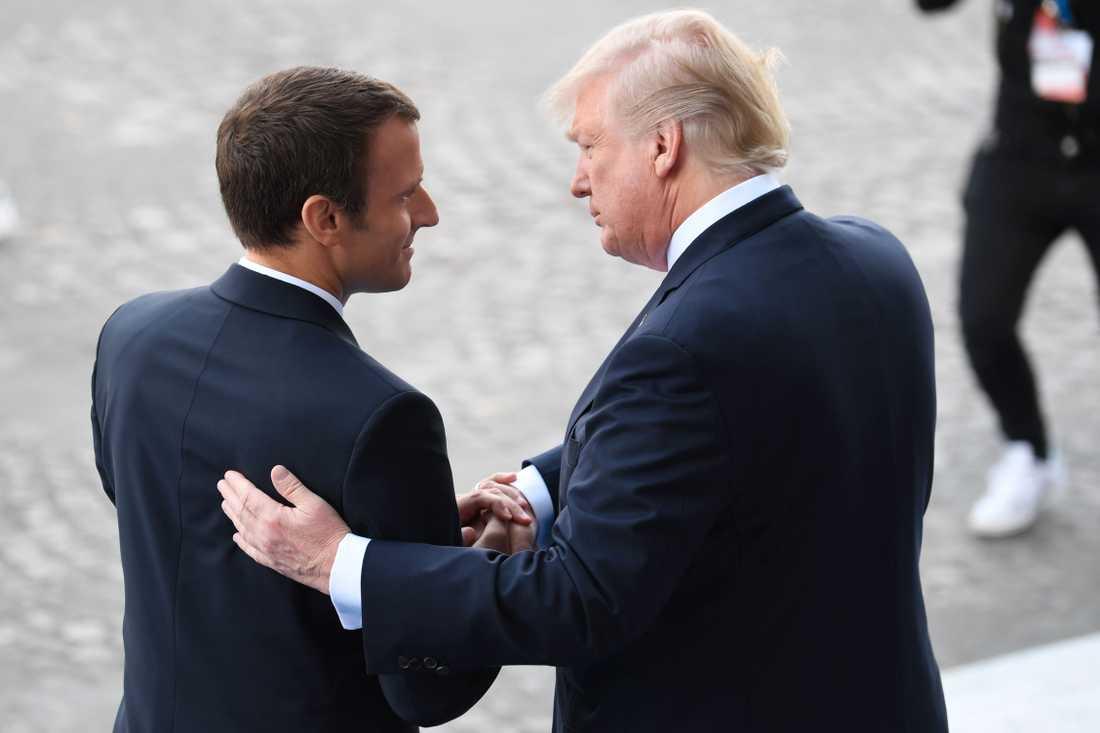 USA:s president Donald Trump träffade Frankrikes president Emmanuel Macron i Paris den 14 juli.