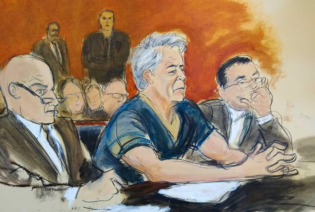 Jeffrey Epstein i rätten.