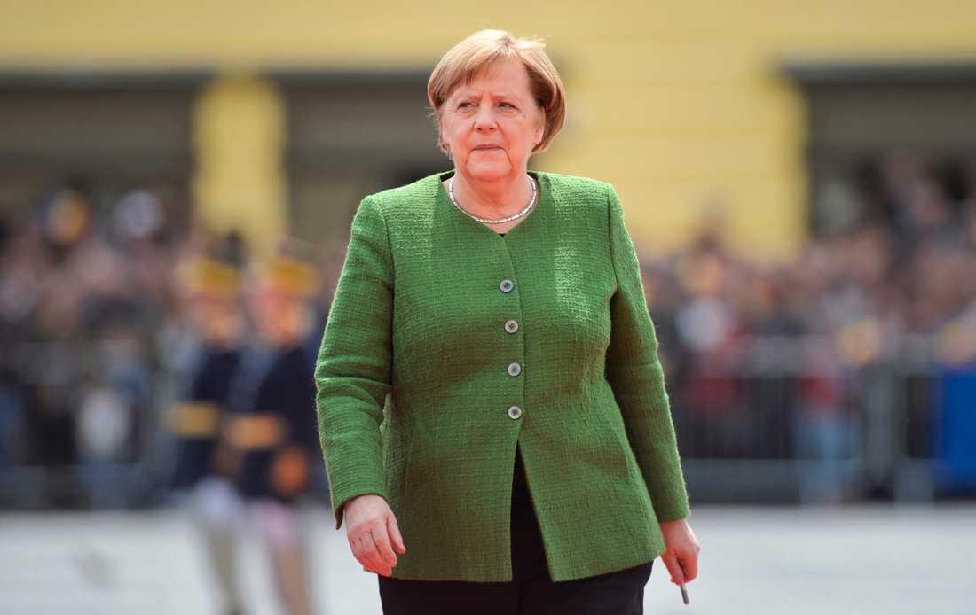 Tysklands förbundskansler Angela Merkel på EU-toppmötet i rumänska Sibiu den 9 maj.