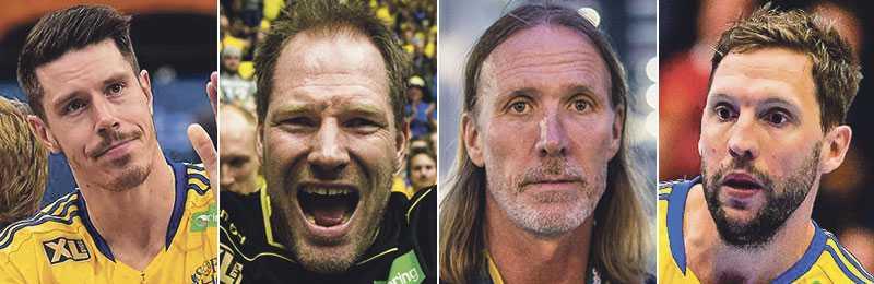 Kim Andersson, Mattias Andersson, Staffan Olsson och Tobias Karlsson – fyra veteraner som lämnat landslaget.