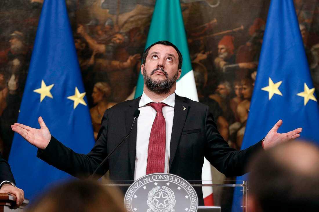 Italiens inrikesminister Matteo Salvini är starkt kritisk mot Frankrike och dess president. Arkivfoto.