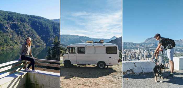 Hanna och Erik Stengård trivs bra i sin lilla husbil.