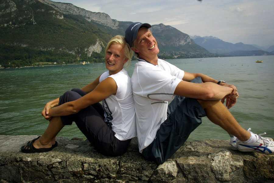 ANNECY 2003 Carolina Klüft och Christian Olsson laddar inför VM i Paris 2003...