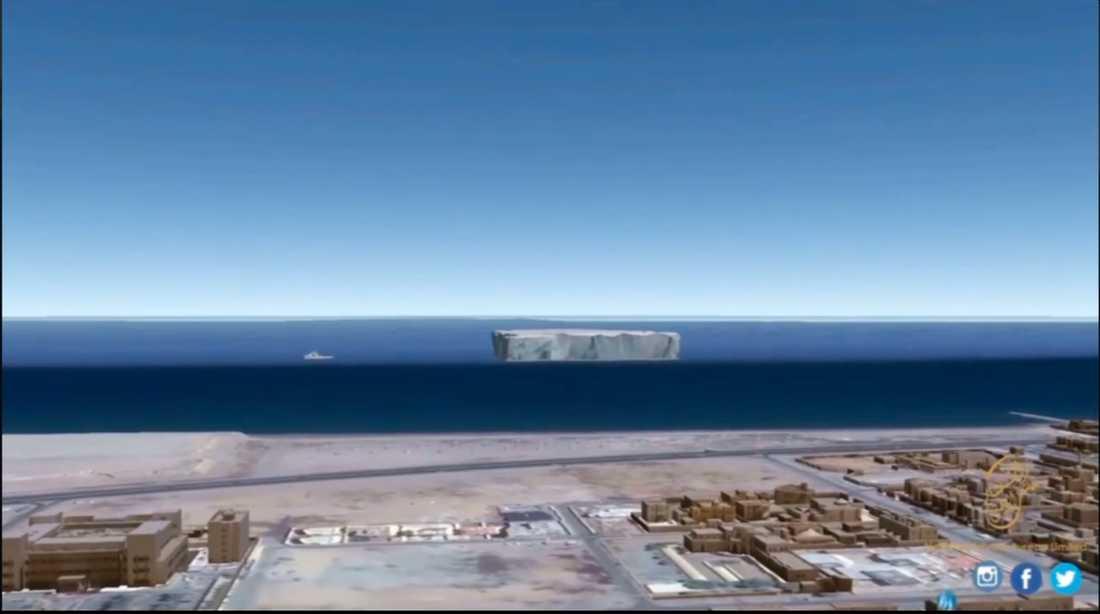 Här, utanför emiratet Fujairahs kust, är isberget tänkt att ligga.