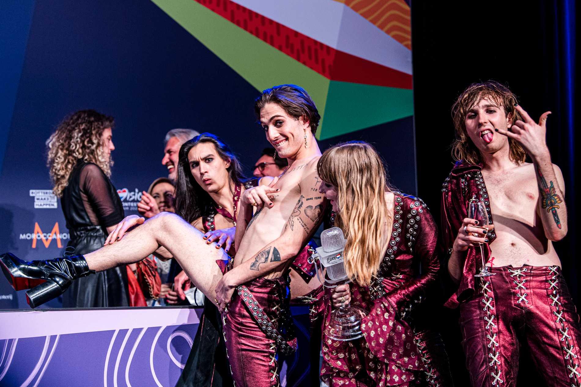 Måneskin efter vinsten i Eurovision song contest 2021.
