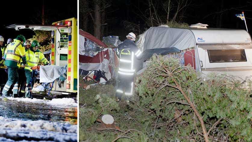 En person skadades när ett träd föll över en husvagn på Mellsta Camping.
