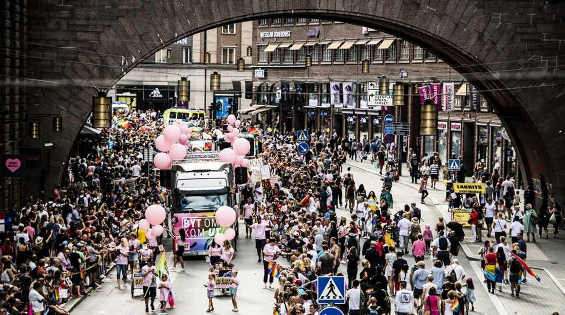 Prideparaden i Stockholm 2018.
