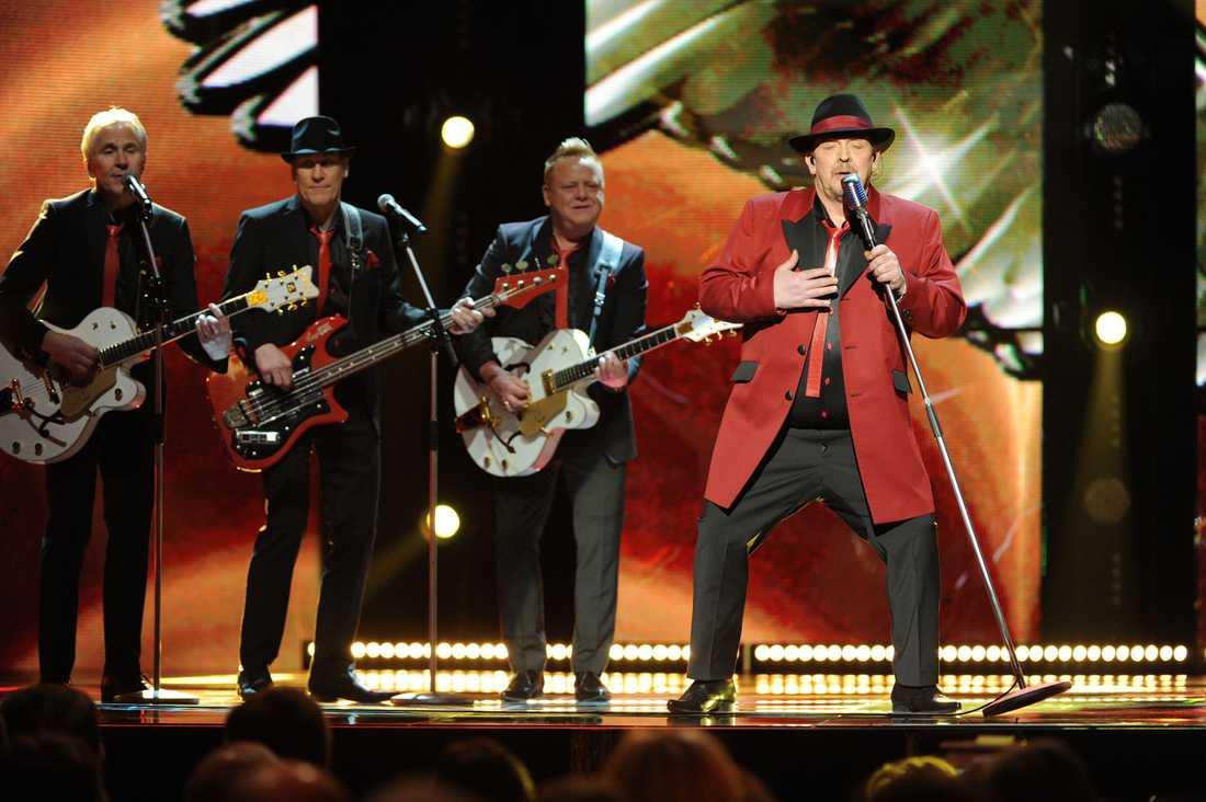 "Lasse Stefanz på scenen i ""Melodifestivalen""."