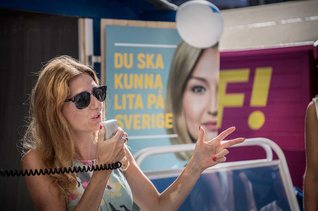 Caroline Szyber, 36, är en av KD:s frontfigurer under valrörelsen.
