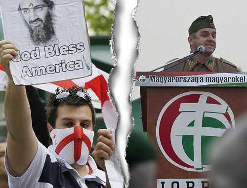Europas två extremhögrar Kontra-jihadiska English Defence League i Storbritannien och antisemitiska Jobbik i Ungern.