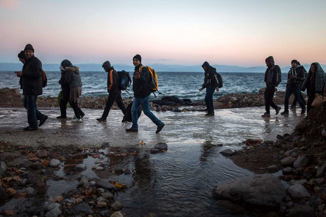 Afghanska flyktingar på grekiska ön Lesbos 2015.