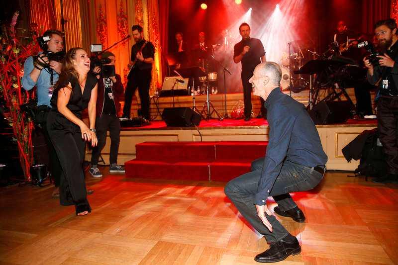 Ingemar Stenmark och Cecilia Ehrling höjde temperaturen på dansgolvet under efterfesten.