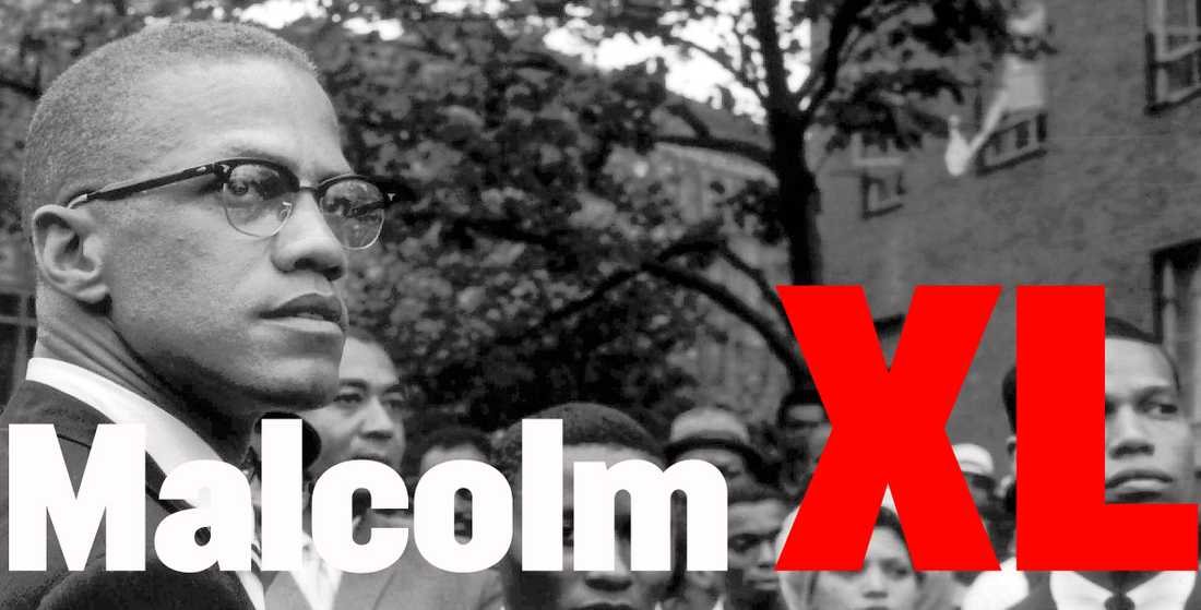 Malcolm X, ledare för Nation of islam, under en demonstration i Harlem 1963.