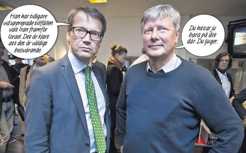 """laddad stämning Efter partiledardebatten förde Aftonbladet samman Göran Hägglund (KD) och Lars Ohly (V) för en bild. """"Ska vi le?"""" frågade Hägglund skämtsamt. """"Du har ingen anledning att vara glad"""", svarade V-ledaren."""