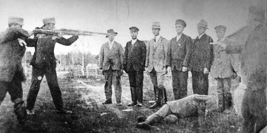 Tillfångatagna rödgardister avrättas i Tammerfors 1918.