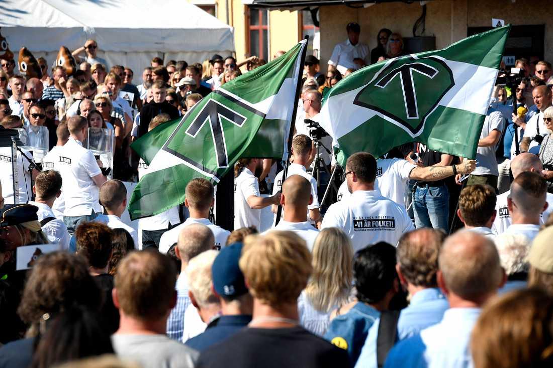 Nordiska motståndsrörelsen i Almedalen 2018.