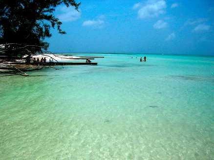 Slappna av vid Rum Point på Grand Cayman med en öl i handen och fötterna i vattnet.