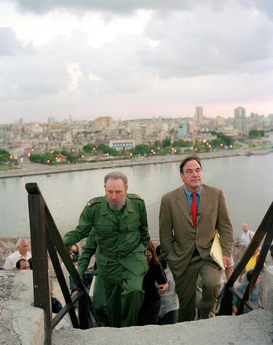 """Castro och filmmakaren Oliver Stone under inspelningen av dokumentärfilmen """"Looking for Fidel"""""""