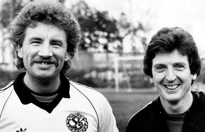 Stuart Baxter tillsammans med Roy Hodgson i Örebro 1983.