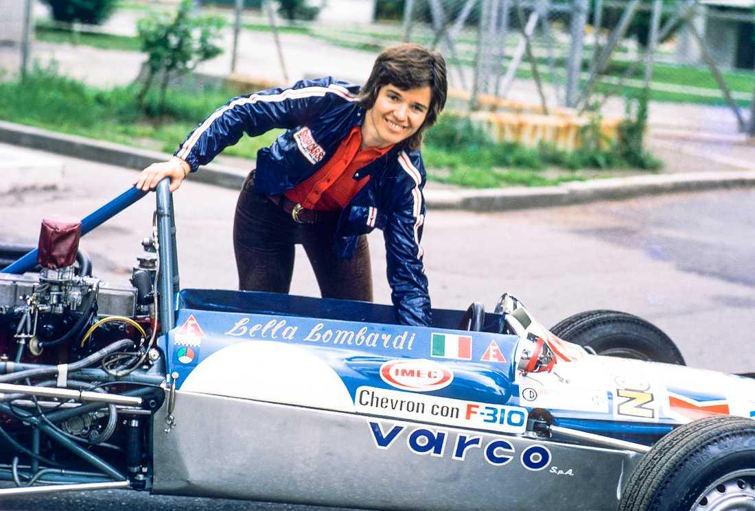 Lella Lombardi, på en bild från 1970. Hon är den senaste kvinnan att ha kört formel 1.