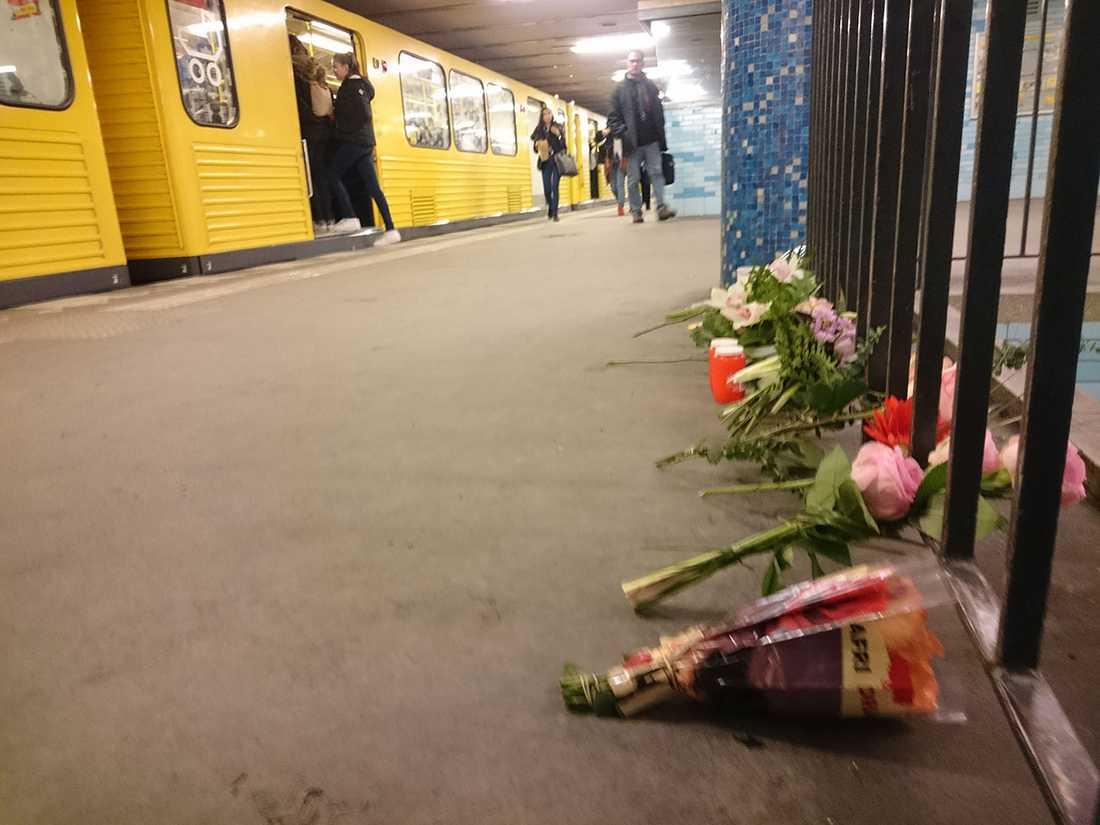 Tunnelbaneperrongen i Berlin där Amanda dödades.