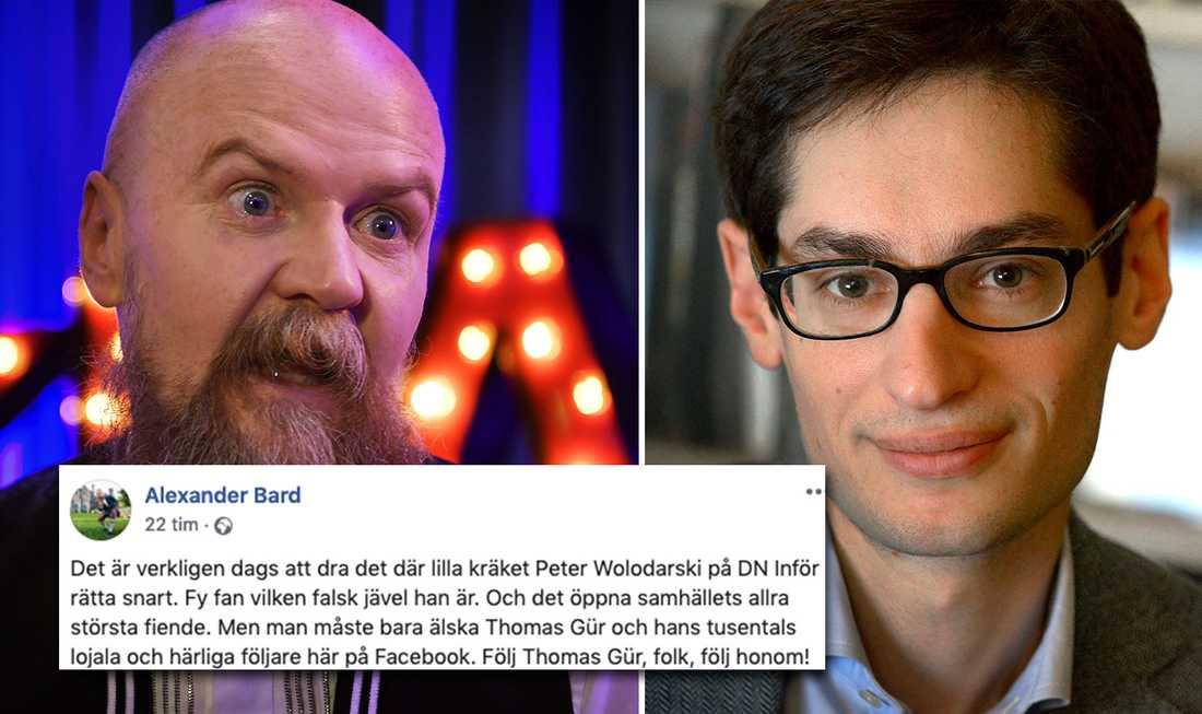 """Alexander Bard gick till vild attack mot DN:s chefsredaktör Peter Wolodarski för """"det lilla kräket""""."""