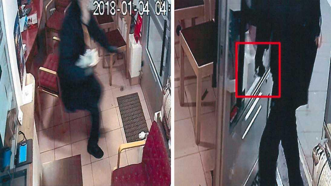 Den dömde 20-åringen fångades på övervakningsfilm på ett växlingskontor som rånades i samband med människorovet.