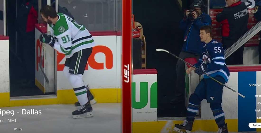 Tyler Seguin förlorade duelen och fick kliva av isen först....
