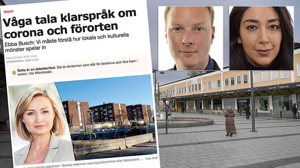 """I stället för att uppmana sina partikamrater som styr sjukvårdspolitiken i regionen och Stockholm stadshus, att bistå med karantänmöjligheter i trångbebodda bostadsområden och organisera hemtjänstens och äldreomsorgens personal väljer man göra pandemin till en """"invandringsfråga"""", skriver  Anders Österberg och Lawen Redar (S),"""