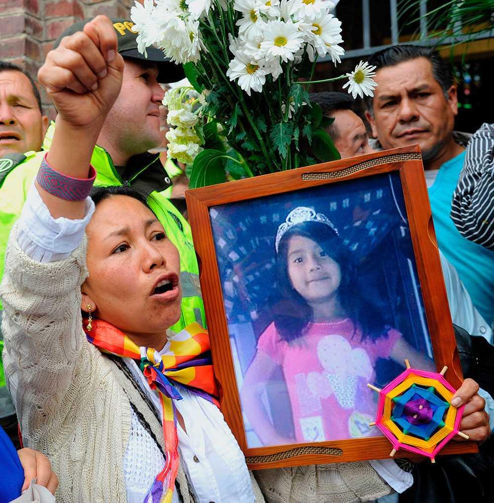 Protester i Bogota, Colombia.